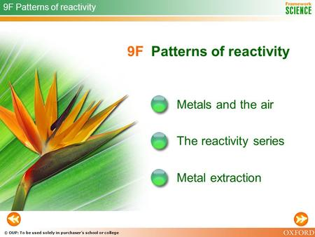 © OUP: To be used solely in purchaser's school or college 9F Patterns of reactivity Metals and the air The reactivity series 9F Patterns of reactivity.
