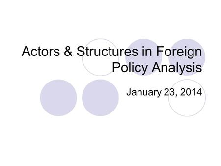 Actors & Structures in Foreign Policy Analysis January 23, 2014.