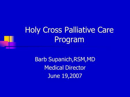 Holy Cross Palliative Care Program Barb Supanich,RSM,MD Medical Director June 19,2007.