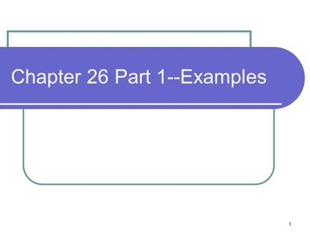 1 Chapter 26 Part 1--Examples. 2 Problem If a ohmmeter is placed between points a and b in the circuits to right, what will it read?