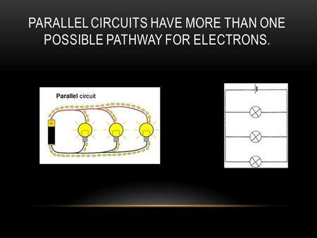 PARALLEL CIRCUITS HAVE MORE THAN ONE POSSIBLE PATHWAY FOR ELECTRONS.