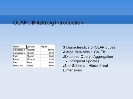 OLAP : Blitzkreig Introduction 3 characteristics of OLAP cubes: Large data sets ~ Gb, Tb Expected Query : Aggregation Infrequent updates Star Schema :