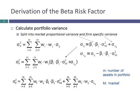 Derivation of the Beta Risk Factor