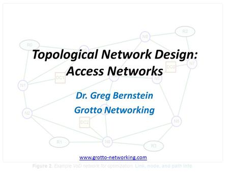 B Topological Network Design: Access Networks Dr. Greg Bernstein Grotto Networking www.grotto-networking.com.