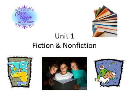 Unit 1 Fiction & Nonfiction. Elements of Fiction Fiction is literature with imaginary people, events, or places. Example: Cinderella Characters: Plot:
