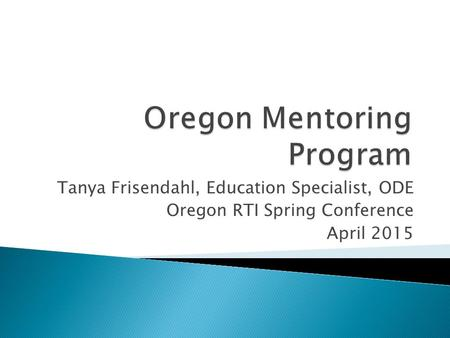 Oregon Mentoring Program