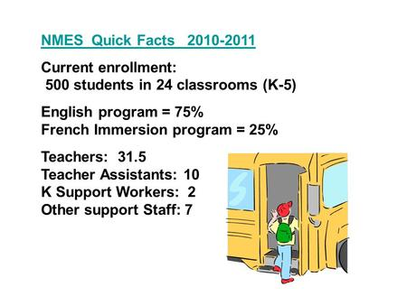 NMES Quick Facts 2010-2011 Current enrollment: 500 students in 24 classrooms (K-5) English program = 75% French Immersion program = 25% Teachers: 31.5.