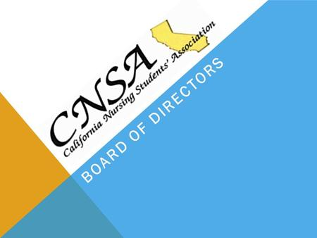 BOARD OF DIRECTORS. CNSA BOARD OF DIRECTORS The CNSA Board of Directors is elected annually to serve the students of the School of Nursing. The Board.