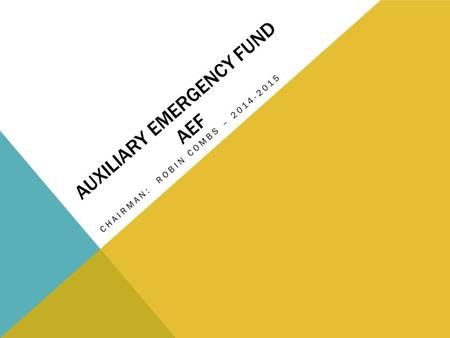 AUXILIARY EMERGENCY FUND AEF CHAIRMAN: ROBIN COMBS – 2014-2015.