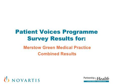 Patient Voices Programme Survey Results for: Merstow Green Medical Practice Combined Results.