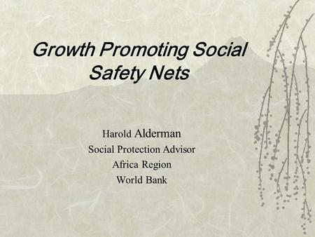 Growth Promoting Social Safety Nets Harold Alderman Social Protection Advisor Africa Region World Bank.