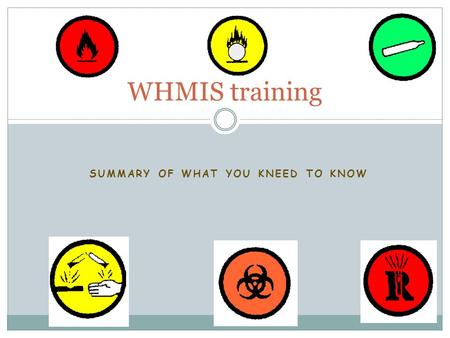 SUMMARY OF WHAT YOU KNEED TO KNOW WHMIS training.