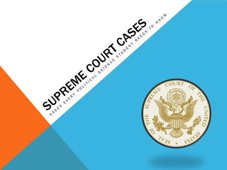 SUPREME COURT CASES CASES EVERY POLITICAL SCIENCE STUDENT NEEDS TO KNOW.