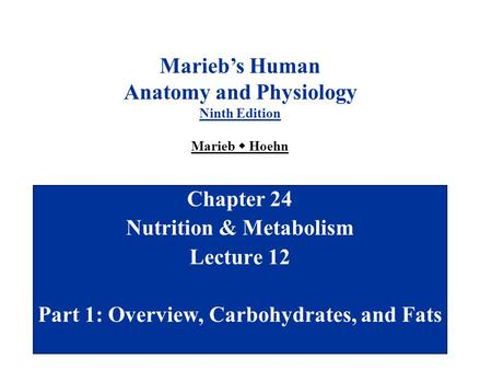 Chapter 24 Nutrition & Metabolism Lecture 12 Part 1: Overview, Carbohydrates, and Fats Marieb's Human Anatomy and Physiology Ninth Edition Marieb  Hoehn.