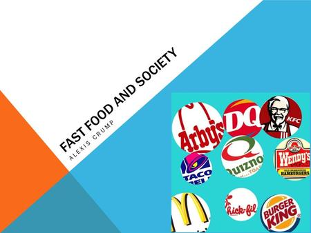 FAST FOOD AND SOCIETY ALEXIS CRUMP. WHY I BECAME INTERESTED Everyone deals with fast food. It effects many younger children and teens. The more people.