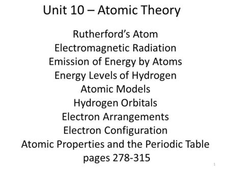 Rutherford's Atom Electromagnetic Radiation Emission of Energy by Atoms Energy Levels of Hydrogen Atomic Models Hydrogen Orbitals Electron Arrangements.