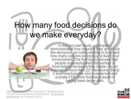 How many food decisions do we make everyday? In this two part study, participants demonstrated how unaware they are about the decisions we make relating.