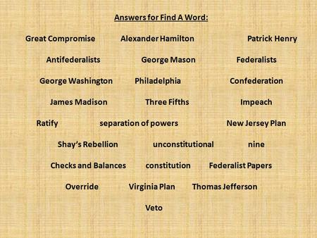 Answers for Find A Word: Great CompromiseAlexander HamiltonPatrick Henry AntifederalistsGeorge MasonFederalists George WashingtonPhiladelphia Confederation.