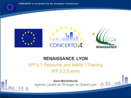 RENAISSANCE : a CONCERTO project financed by the European Commission on tne six framework programme RENAISSANCE - LYON - FRANCE 1 RENAISSANCE LYON WP 5.1.