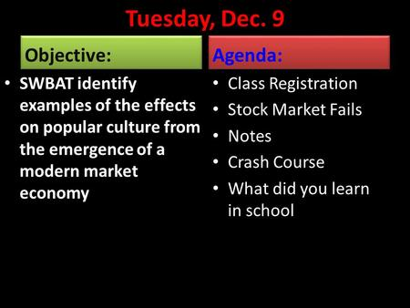 Tuesday, Dec. 9 Objective: SWBAT identify examples of the effects on popular culture from the emergence of a modern market economy Agenda: Class Registration.