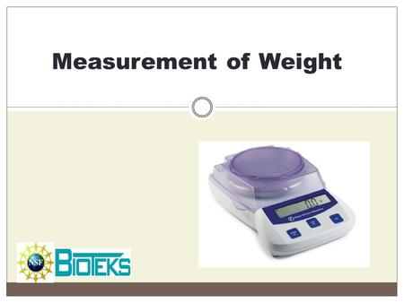 Measurement of Weight.
