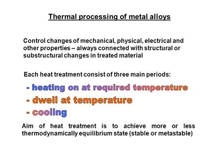 Thermal processing of metal alloys Control changes of mechanical, physical, electrical and other properties – always connected with structural or substructural.