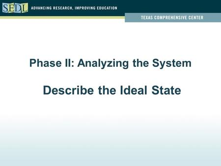 Phase II: Analyzing the System Describe the Ideal State.