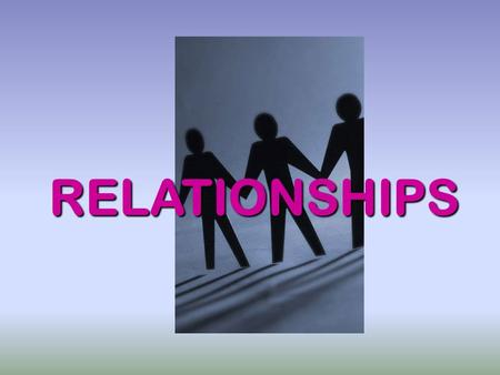 RELATIONSHIPS. There are several types of relationships we have and need to maintain: Family Relationships Social Relationships Spiritual Relationships.