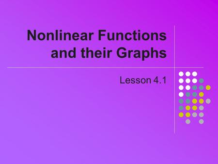 Nonlinear Functions and their Graphs Lesson 4.1. Polynomials General formula a 0, a 1, …,a n are constant coefficients n is the degree of the polynomial.
