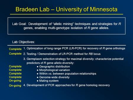 "Bradeen Lab – University of Minnesota Lab Goal: Development of ""allelic mining"" techniques and strategies for R genes, enabling multi-genotype isolation."