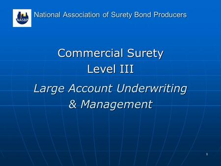 1 National Association of Surety Bond Producers Commercial Surety Level III Large Account Underwriting & Management.