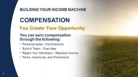 1 You Create Your Opportunity You can earn compensation through the following: Personal sales - Commissions Build A Team - Overrides Retain Your Members.