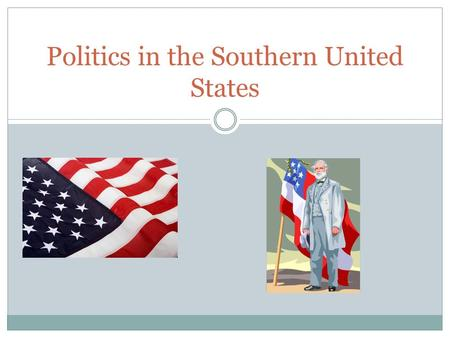 Politics in the Southern United States. Some of the Major Influences on Southern Politics Geography/Colonial Traditions An agricultural economy Racial.