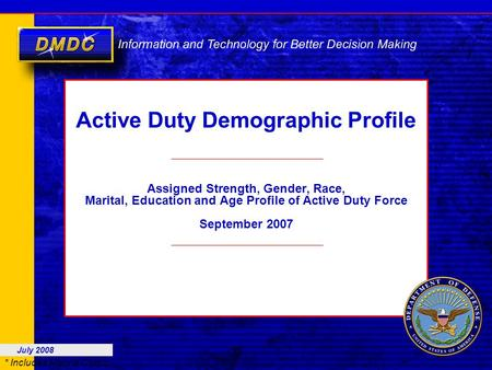 * Includes Marine Corps Active Duty Demographic Profile Assigned Strength, Gender, Race, Marital, Education and Age Profile of Active Duty Force September.