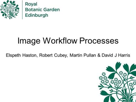 Image Workflow Processes Elspeth Haston, Robert Cubey, Martin Pullan & David J Harris.