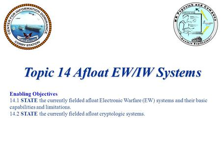 Topic 14 Afloat EW/IW Systems Enabling Objectives 14.1 STATE the currently fielded afloat Electronic Warfare (EW) systems and their basic capabilities.