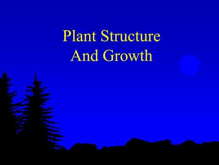 Plant Structure And Growth. The Plant Body is Composed of Cells and Tissues l Tissue systems l made up of tissues l made up of cells.