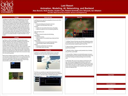 TEMPLATE DESIGN © 2008 www.PosterPresentations.com Last Resort Animation, Modeling, AI, Networking, and Backend Alex Bunch, Nick Hunter, Austin Lohr, Robert.