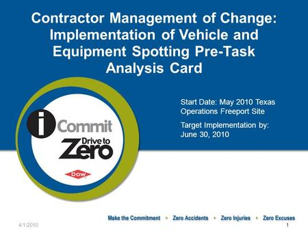 4/1/20101 Contractor Management of Change: Implementation of Vehicle and Equipment Spotting Pre-Task Analysis Card Start Date: May 2010 Texas Operations.