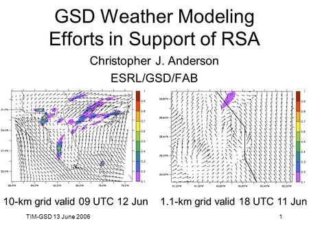 TIM-GSD 13 June 20061 GSD Weather Modeling Efforts in Support of RSA Christopher J. Anderson ESRL/GSD/FAB 10-km grid valid 09 UTC 12 Jun1.1-km grid valid.