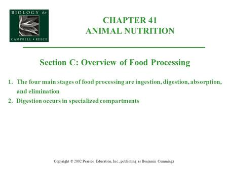 CHAPTER 41 ANIMAL NUTRITION Copyright © 2002 Pearson Education, Inc., publishing as Benjamin Cummings Section C: Overview of Food Processing 1.The four.
