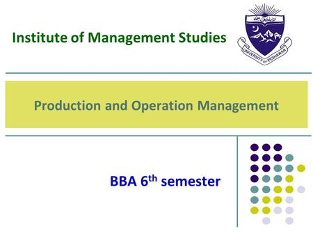 Production and Operation Management BBA 6 th semester Institute of Management Studies.