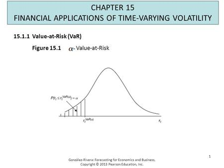 1 CHAPTER 15 FINANCIAL APPLICATIONS OF TIME-VARYING VOLATILITY Figure 15.1 Value-at-Risk González-Rivera: Forecasting for Economics and Business, Copyright.
