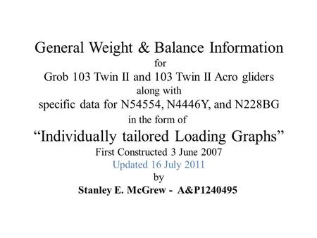 General Weight & Balance Information for Grob 103 Twin II and 103 Twin II Acro gliders along with specific data for N54554, N4446Y, and N228BG in the form.