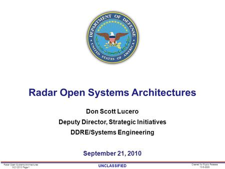 Radar Open Systems Architectures