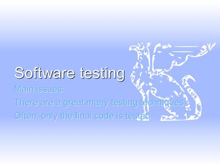 Software testing Main issues: There are a great many testing techniques Often, only the final code is tested.