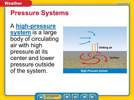Lesson 2-1 A high-pressure system is a large body of circulating air with high pressure at its center and lower pressure outside of the system.high-pressure.