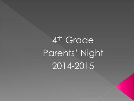 4 th Grade Parents' Night 2014-2015.  Tickets to Good Behavior: Students will earn tickets for good behavior. They can also win whole class tickets.