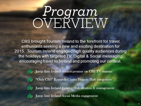 """Only CBS"" Kennedy Center Honors Hub integration Jump Into Ireland Contest Hub creation & management Jump Into Ireland Social Media engagement CBS brought."