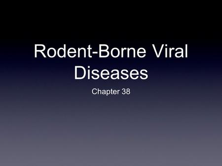Rodent-Borne Viral Diseases